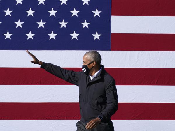 Former President Obama campaigned for his former vice president, Joe Biden, on Monday at Turner Field in Atlanta.