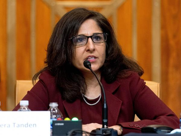 Neera Tanden testified during a Senate Committee on the Budget hearing on Capitol Hill on Feb. 10.