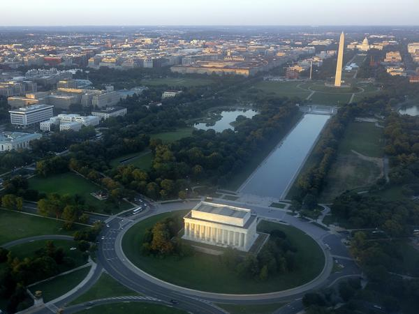 The skyline of Washington, D.C., including the Lincoln Memorial, Washington Monument, U.S. Capitol and National Mall, as seen on June 15, 2014.