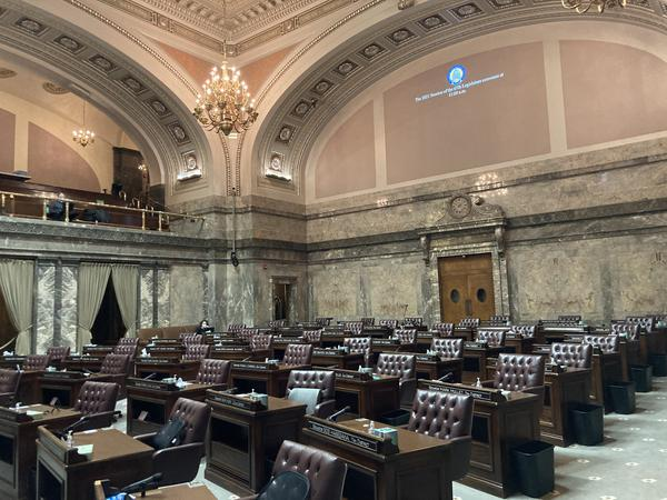 The Washington Senate chamber sits empty before the start of the legislative session on January 11. Senate Democrats are taking the lead this year on a decade-long effort to pass a capital gains tax in Washington.