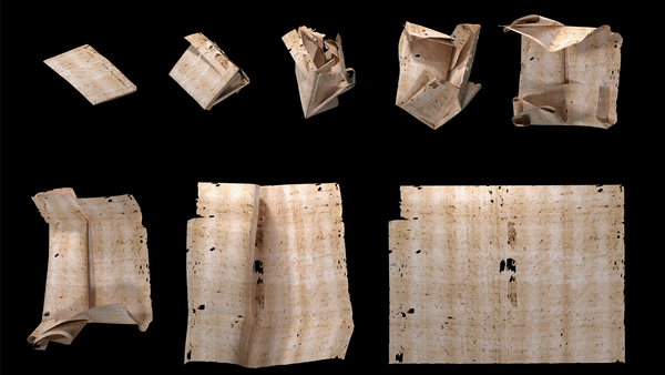 """A computer-generated unfolding sequence of sealed letter DB-1538. New research describes how """"virtual unfolding"""" was used to read the contents of sealed letter packets from 17th century Europe without physically opening them."""