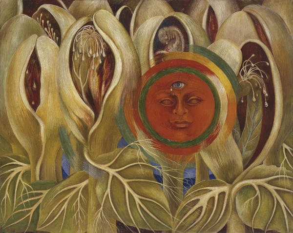 Frida Kahlo, <em>Sun and Life,</em> 1947, oil on masonite, private collection, courtesy Galería Arvil