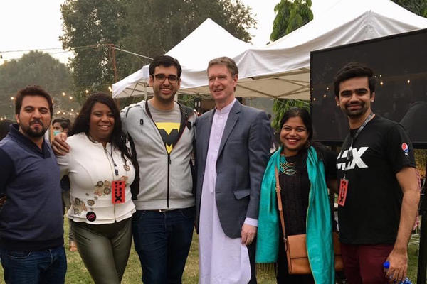 U.S. Consulate Lahore staff and participants including Maryum Saifee (second from right) in the ATX+PAK entrepreneurship program at the Mix festival in Lahore, Pakistan. The event is inspired by Austin's SXSW events.