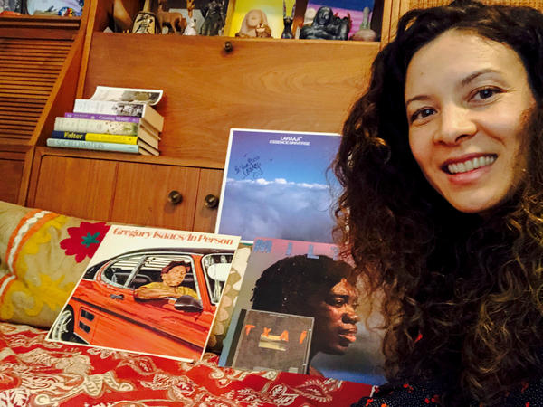 Singer-songwriter Mia Doi Todd showing off her record collection.