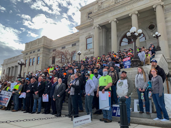 Union members gather on the front steps of the Montana Capitol to celebrate the defeat of House Bill 251 on March 2, 2021.