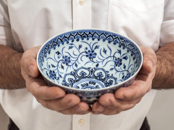 A small porcelain bowl, pictured in a photo provided by Sotheby's, sold for $35 at a yard sale but was later identified as a rare, 15th-century Chinese artifact.
