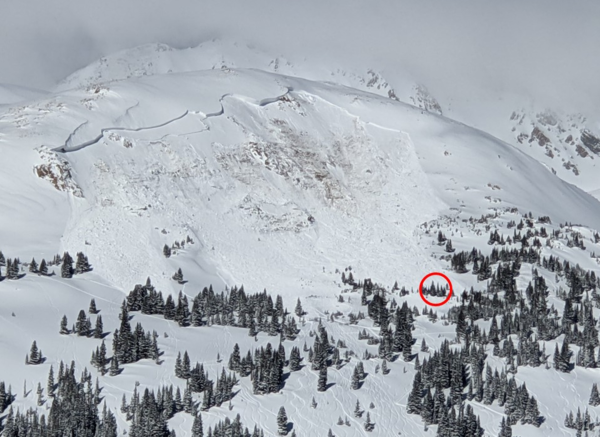 his avalanche near Colorado's Loveland Pass caught and killed a backcountry snowboarder who was riding alone on Feb. 14. The red circle indicates where the avalanche buried the rider.