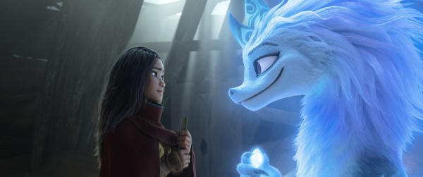 Raya seeks the help of the legendary dragon, Sisu. Seeing what's become of Kumandra, Sisu commits to helping Raya fulfill her mission in reuniting the lands. (© 2021 Disney. All Rights Reserved.)