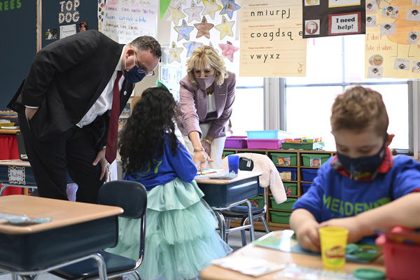 First lady Jill Biden and Education Secretary Miguel Cardona tour Benjamin Franklin Elementary School in Meriden, Conn.