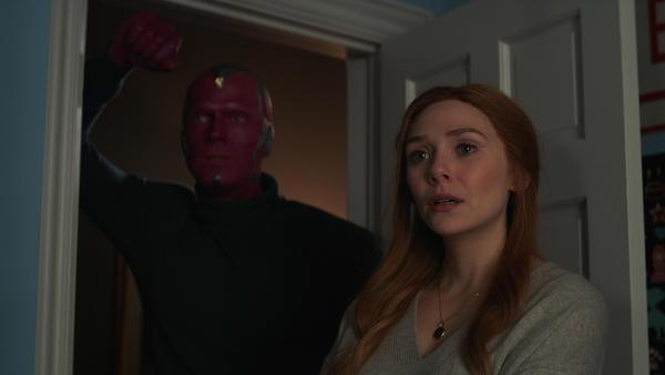 Paul Bettany and Elizabeth Olsen in <em>WandaVision</em>.