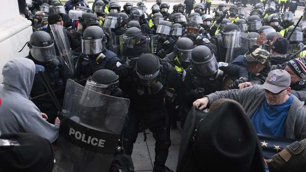 U.S. Capitol Police push back rioters trying to enter the U.S. Capitol in Washington on Jan. 6.