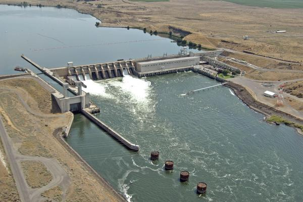The Ice Harbor Dam on the Lower Snake River in southeastern Washington state is one of four in the region targeted for removal. Dam advocates like Reps. Dan Newhouse and Cathy McMorris Rodgers are fighting to keep them in place.