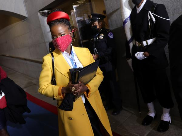 """Former National Youth Poet Laureate Amanda Gorman arrives at the inauguration of US President-elect Joe Biden on the West Front of the US Capitol on Jan. 20 in Washington, D.C. Gorman says she was tailed Friday night by a security guard who said she looked """"suspicious."""""""