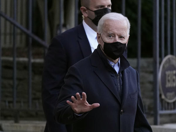 President Biden departs after attending Mass on Saturday at Holy Trinity Catholic Church in Washington.