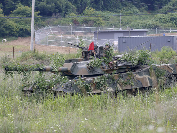 South Korean Military take part in a drill near the Korean Demilitarized Zone in Paju, South Korea, June 18, 2020.