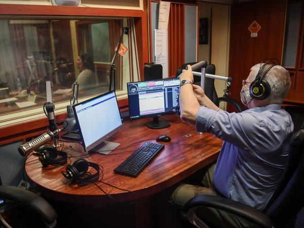 Radio journalists work in the studio at the headquarters of the independent Hungarian radio station, the Klubradio in Budapest on Feb. 9. It was removed from the airways after the national media regulator would not renew its license, raising new press freedom concerns in the European Union member state.
