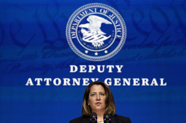 Deputy Attorney General nominee Lisa Monaco speaks during an event with then-President-elect Joe Biden in Wilmington, Del., on Jan. 7. Her confirmation hearing is on Tuesday.