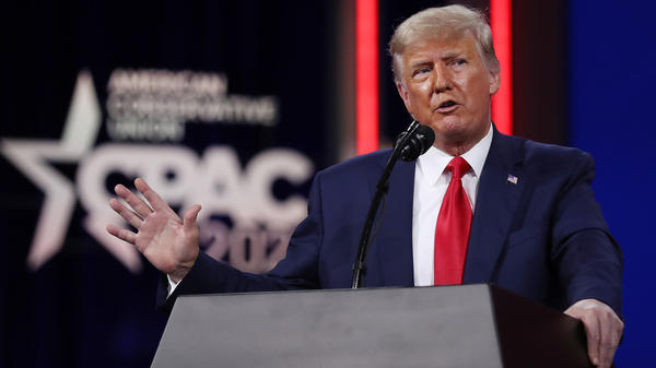 Former President Donald Trump addresses the Conservative Political Action Conference late last month. Trump is urging his supporters to donate to his political action committee, rather than the Republican Party.