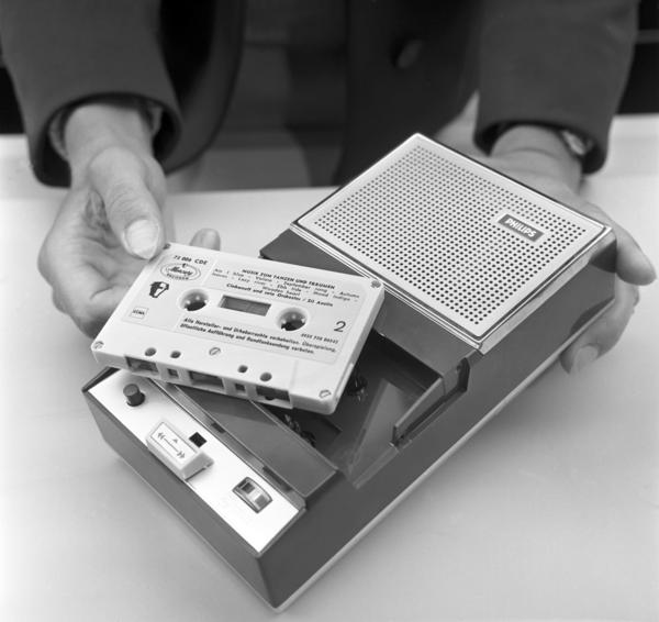 A Philips cassette tape is shown in 1965. Lou Ottens, who led the invention of the first cassette tape, has died at 94.