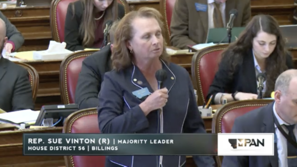 Montana Republican Rep. Sue Vinton introduces House Bill 329 on the House floor March 11, 2021.