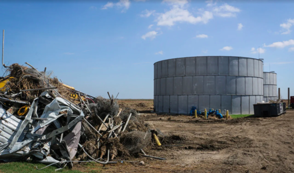 The remains of a water tower in Holly Beach, Louisiana, that was destroyed by Hurricane Laura in 2020.