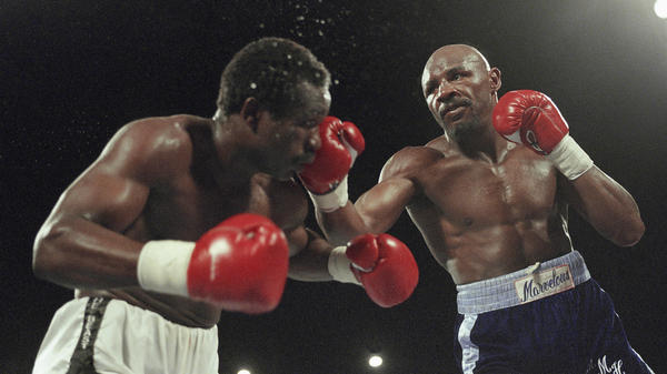 """Marvin Hagler (right) versus John """"The Beast"""" Mugabe on March 10, 1986. Hagler won the fight with an 11th round knockout."""