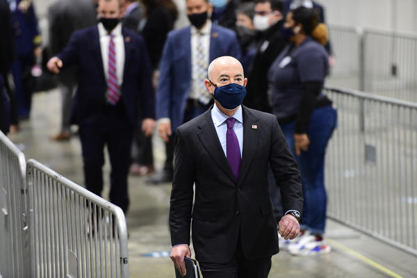 U.S. Secretary of Homeland Security Alejandro Mayorkas, seen here on March 2 at a FEMA community vaccination center in Philadelphia, announced Saturday the agency will assist with the influx of migrant children at the U.S. southern border.