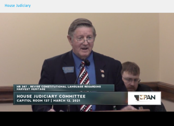 Republican Rep. Paul Fielder of Thompson Falls, sponsor of HB 367, introduces the proposed legislation during during a House Judiciary Committee on March 12, 2021.