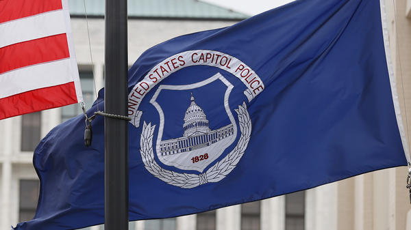 The U.S. flag and the U.S. Capitol Police flag were flown at half-staff after the death of Capitol Police officer Brian Sicknick. On Sunday, the FBI arrested two men who are accused of spraying chemicals on Sicknick and others during the Jan. 6 Capitol riot.