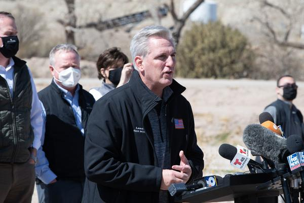 House Minority Leader Kevin McCarthy addresses the press during the congressional border delegation visit to El Paso, Texas.