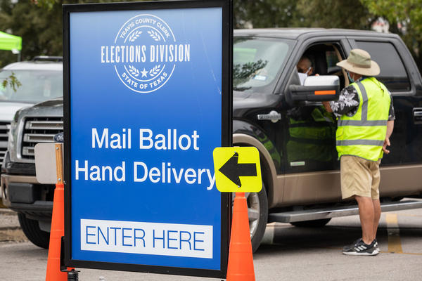 Some Texas counties allowed drive-thru mail ballot delivery for voters during the 2020 election because of the pandemic and concerns over the possible health risks of voting in person.