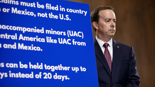 John Sanders, then the acting commissioner of U.S. Customs and Border Protection, attends a news conference on Capitol Hill in 2019 during a surge of migrants at the U.S.-Mexico border, when at least five children died after being detained by federal authorities.