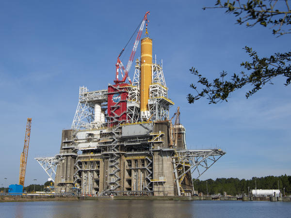 """The massive core stage for NASA's <a href=""""http://nasa.gov/sls"""">Space Launch System (SLS)</a> rocket is in the B-2 Test Stand at NASA's Stennis Space Center near Bay St. Louis, Mississippi, for the core stage Green Run test series."""