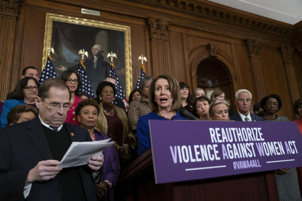 Speaker Nancy Pelosi, D-Calif., leads a 2019 press conference with fellow Democrats in support of the Violence Against Women Act.