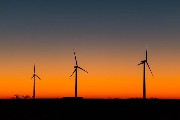 A wind farm in Ellsworth County, Kansas.