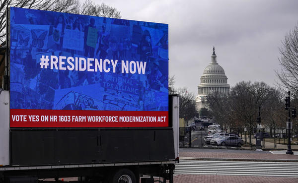 An installation erected near the U.S. Capitol showcases support for the American Dream and Promise Act and the Farm Workforce Modernization Act on March 17, 2021.