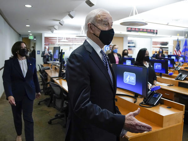 President Biden and Vice President Harris arrive for a COVID-19 briefing at the headquarters for the Centers for Disease Control and Prevention in Atlanta on Friday.
