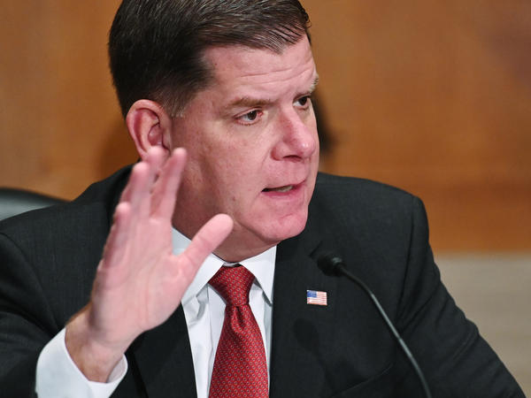 Marty Walsh is seen testifying at his confirmation hearing before the Senate Health, Education, Labor, and Pensions Committee as part of his nomination to head the Labor Department on Feb. 4 in Washington, D.C. Walsh was confirmed by the Senate as the Labor secretary on Monday.