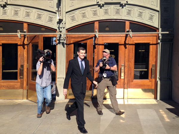 Former WA State Auditor Troy Kelley leaves court during his first trial which ended in 2016 with the jury deadlocking on most charges and acquitting him of one. Kelley was later retried and convicted on several counts. He's now exhausted his appeals.