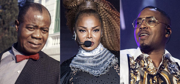 From left, jazz musician Louis Armstrong in Rome in 1968, Janet Jackson at the Essence Festival in New Orleans in 2018, and Nas at the Essence Festival in 2019. Works by each of these musicians are among 25 recordings being inducted to the National Recording Registry.