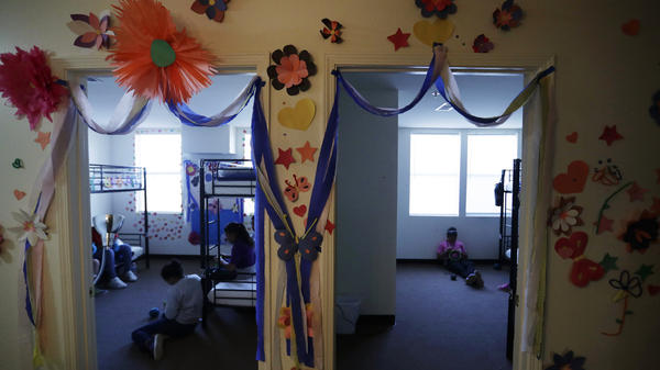 A 2019 photo shows a U.S. government holding center for migrant children in Carrizo Springs, Texas. The facility was reopened by the Biden administration and an independent TV crew was allowed inside to capture new images of conditions there on Wednesday.