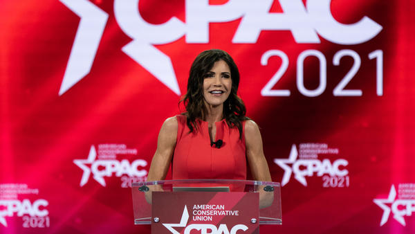 Kristi Noem, governor of South Dakota, speaks during the Conservative Political Action Conference (CPAC) in Orlando, Florida, U.S., on Saturday, Feb. 27, 2021.