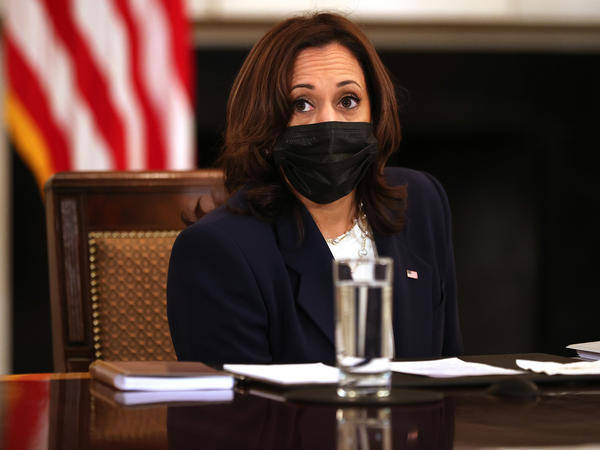 Vice President Harris delivers brief remarks during a meeting Wednesday.