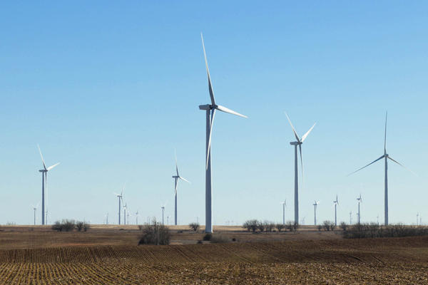 One of many wind farms that dot the Kansas prairie.