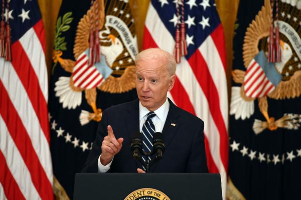 """President Biden tells reporters Thursday during his first press briefing that he expects to run for reelection but that he is a """"respecter of fate"""" and will not say anything for certain."""