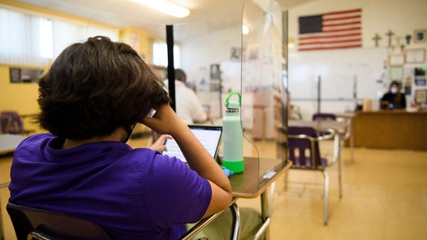 Students returned to in-person learning on a hybrid model this week at St. Anthony Catholic High School in Long Beach, Calif. The country is on track to have a majority of schools open in the next two months, but not all children are going back.
