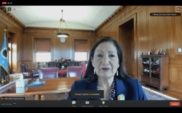 Interior Secretary Deb Haaland delivers opening remarks at a forum for the U.S. Department of the Interior's review of its federal oil and gas program on Thursday, March 25, 2021. (screengrab)