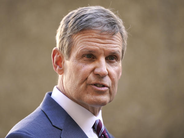 Tennessee Gov. Bill Lee speaks to reporters on Jan. 19, 2021, in Nashville, Tenn. Lee has signed into law a bill that bans transgender athletes from participating in girls' sports.