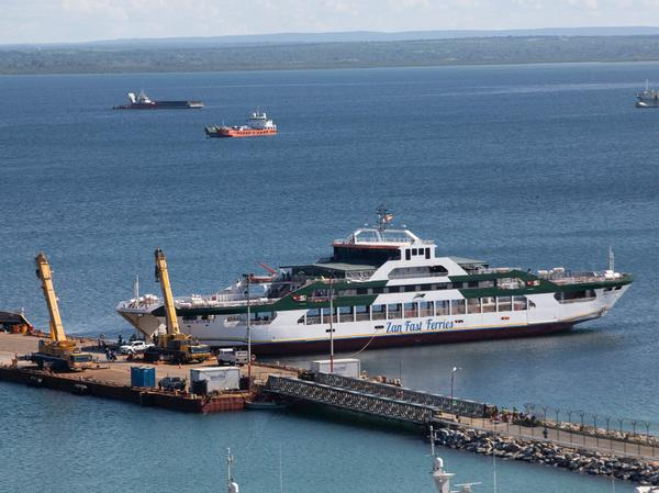 The Sea Star 1, owned by the Tanzanian Zan Ferries, docked on Monday at the port in Pemba, Mozambique. The vessel has been used to evacuate people, mostly foreign gas workers, from fighting in Palma, Mozambique.