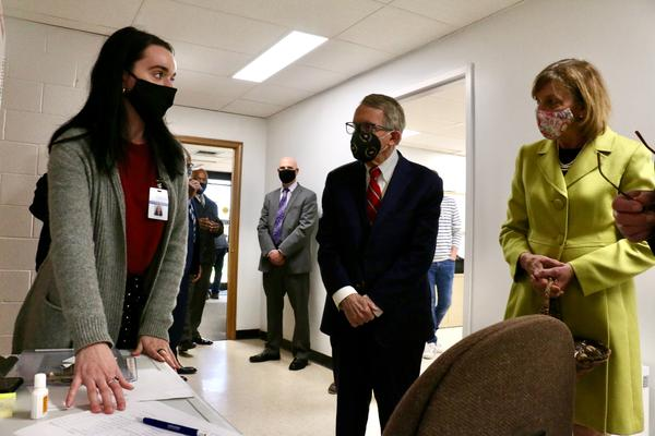 Gov. Mike and First Lady Fran DeWine toured shot clinics in Morgan, Monroe and Vinton Counties on Monday.